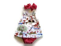 Детские 3шт наборы Девушка Summer Fox ситцевого платье + шорты + оголовье одежды для новорожденного мультфильма животных сладких Одежда наборов