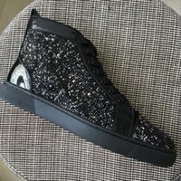 New men women black with white rhinestones with snakeskin le...