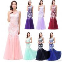 Nuovo Designer Light Pink economici in magazzino Prom Dresses a sirena senza maniche in pizzo Applique Sexy Back Evening Abiti da sera CPS360