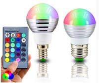 E27 E14 LED RGB Ampul Lamba AC110V 220 V 3 W LED RGB Işık Dim Spot Işık Sihirli Tatil RGB Işık + IR Uzaktan Kumanda 16 Renkler 4 adet