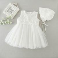 Retail nyfödda barnflickor prinsessan klänning födelsedagsfest formell dop klänning spets långärmad klänning 0-2t 9605bb