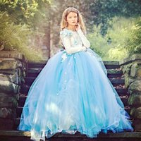Magníficos vestidos de Tulle Flower Girls 'Floor-length Children Dress Azul y Marfil Flores hechas a mano en orden Junior Prom Dresses