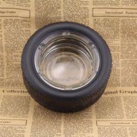1 stücke Große Kreative Auto Reifen Form Aschenbecher personalisierte tragbare schwarze Zigarettenasche Aschenbecher Zigarre Tabak Rauchen Glas Aschenablage Home Decoration