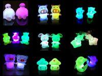 7 تغيير اللون الصمام ليلة صغيرة الجدة ضوء الحيوان الملونة الحيوان جميل ضوء الليل لطيف الصمام ضوء الليل ل هدية عيد الميلاد