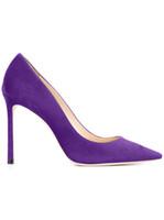 2017 الجديدة النساء أحذية عالية الكعب جلد الغزال مضخات الزفاف الوردي الأزرق الأرجواني اللون والاحذية وأشار تو مضخة المصارع الصنادل