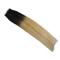 Ombre Naturel Bande De Cheveux Humains En 1b / 613 Bande Double Dessiné Dans Les Extensions De Cheveux Humains 40 pcs Extensions de Cheveux De Trame De Peau Droite 100g