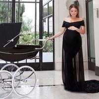 Vestidos de noche de maternidad ajustados sexy gasa spandex negra Fuera del hombro Vestidos de fiesta formales hechos a medida con tren