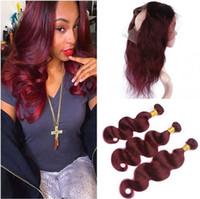 Brasiliano 99J vino rosso capelli umani tesse con 360 Pizzo frontale 22.5x4x2 Wave del corpo di Borgogna Full Frontal 360 chiusura del merletto con 3Bundles