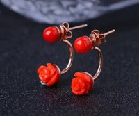 Fashion red coral stud earrings flower shape natural red cor...