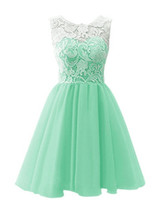 2016 New Off the Shoulder Lace Short Prom Homecoming Dress L...