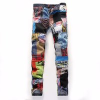 Wholesale- Boys fashion slim fit ripped jeans personality hi...
