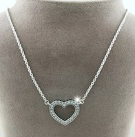 100% 925 Sterling Silver Chain Loving Hearts with Clear CZ Necklace Fits Pandora Style Jewelry Charms and Beads