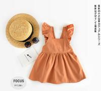 INS estilos nueva chica cabritos del vestido elegante vestido sin mangas de la llegada del verano del 100% de algodón de color calabaza liga del vestido casual niña