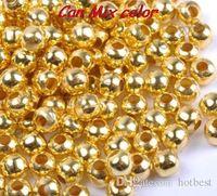 4mm 4000pcs / lot silver guld spacer pärlor, nya akryl pärlor för chunky smycken för DIY armband cross gör hotSale bästa U3564