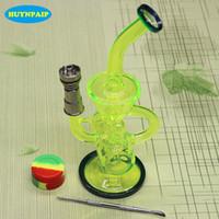 Neueste Farbiges Glas bong mit Domeless Titannagel Faberge Wasserleitung Glas Bongs Wasserpfeifen Recycler Filter Dampffiltriermaschinen Raucher