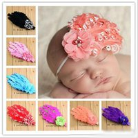 New Baby girls feather Headbands Chiffon Flower Pearl Orname...