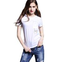 2017 Женская футболка мода ZSIIBO карманный кот мультфильм печати женские футболки повседневная топ тис с коротким рукавом О-образным вырезом твердые тонкий футболка NV30-F