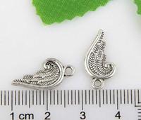 200pcs argento tibetano angelo ala pendenti charms per gioielli braccialetto 19x10mm