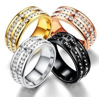 Top Sell Fashion Jewelry Anique 316 Stainless Steel Rose Gold Plated CZ Crystal 4 Color Gemstones Women Wedding Engagement Men Ring Gift