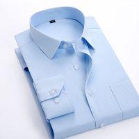 Al por mayor-famosa marca manga larga camisa de vestir de los hombres de moda formal de algodón de poliéster Slim Fit Boy camisas casuales masculinas más el tamaño 8XL