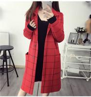 Оптовая продажа-2016 новый горячий продавать женские осенние пальто девушки повседневная мода корейский дизайн плед кардиганы красный темно-синий леди длинные верхняя одежда #H583