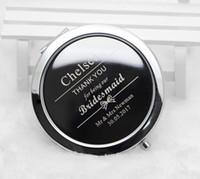 Kişiselleştirilmiş Kompakt Aynalar Özel Oyulmuş Gümüş Metal Kozmetik Makyaj Aynası Durumda Düğün Hediye Iyilik Ücretsiz Kargo