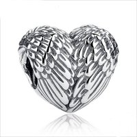 2020 New Genuine 925 Sterling Silver Beads Wings Feather Hea...