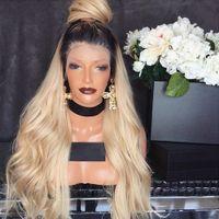 150٪ الكثافة البرازيلي العذراء الشعر الجبهة الرباط الباروكات شقراء الأربطة كاملة الشعر البشري T1B / 613 غلويليس لمة للنساء السود ابيض عقدة
