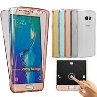 Weiche TPU Transparent 360 Full Body Schutzhülle für Samsung S7 S6 Edge Plus Hinweis 7 5 4 A7 A8 A9 Front Touch Screen Rückseitige Abdeckung