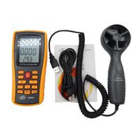 Freeshipping 0-45M / S الرقمية مقياس شدة الريح سرعة متر الهواء حجم درجة الحرارة المحيطة تستر مع واجهة USB