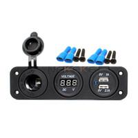 Deniz Karavan 12 V DC Çakmak Dijital Voltmetre Araba Çift USB Şarj SocketMarine Caravan 12 V DC Çakmak Kazmak