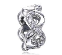 Madre Day White Flower Infinity Spacer Charm Fit For Bracciale Pandora DIY Bead Charm 925 gioielli in argento sterling