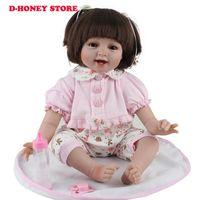Renacido de silicona muñecas del bebé de 22 pulgadas a la nueva manera de 55cm precioso realista mejillas chica que usan juguetes para niños de vestir