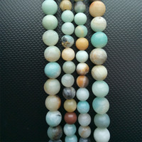 Stone Loose Beads Round Frost Multicolor Amazonite Natural S...