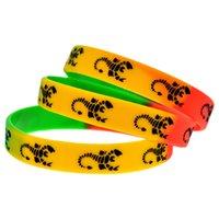 100 pcs escorpiões logotipo moda pulseira de silicone faixa de estilo de metal pesado para fãs de música presente 3 cores