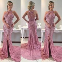 Sparkle Bling Sequined Split Prom Dresses 2018 Popular Halte...