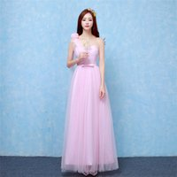 2018 New Pink Long Bridesmaid Dresses Women One Shoulder Wed...