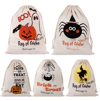 9 Styles Halloween Bag Pumpkin Trick Or Treat Bags Canvas Pa...