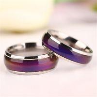 Rostfritt stål Ringar Mix Size Mood Ring Ändrar färg till din temperatur avslöja din inre känsla