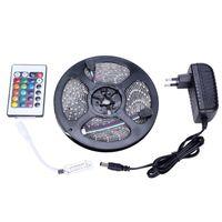LED Strips 5M Set 3528SMD 60led LED Strip Light Waterproof 24Keys IR Remote  Controller Power Supply Adapter White Red RGB LED Strips Light