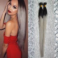 T1B / extensiones de cabello gris plata extensión de cabello 100% queratina u extensiones de punta 100g extensiones de cabello humano ombre pre-enlazadas gris ombre