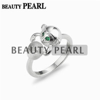 5 Pieces Lovely Monkey Ring Settings Green Eye 925 Sterling ...