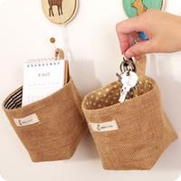 Hot sales Zakka style storage box jute with cotton lining sundries basket mini desktop storage bag hanging Space Saving Cotton
