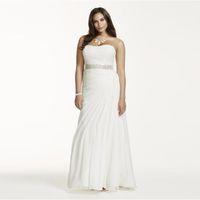 Creince Chiffon drappeggiato Plus Size Dress da sposa senza spalline senza spalline Corpetto Rucchitato Semplice elegante abiti da sposa perline SASH 9V3540