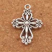 Filigrana Flor Cruz Religiosa Spacer Charme Beads 100 pçs / lote Antique Prata Pingentes Liga Artesanal Jóias DIY L425 20.5x27.9mm