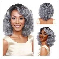 Xiu Zhi Mei avó cinza peruca preta curto encaracolado perucas sintéticas perucas de cabelo das mulheres afro-americano barato boa qualidade peruca de cabelo ondeado ombre