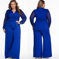 Plus Size Black Patchwork Lace Rompers Fat Women Jumpsuit Deep V Neck Rivet Long Sleeve Wide Leg Pants Female Large Bodysuit