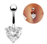 Anillo de ombligo Zircon Anillo de pez en forma de corazón de diamante Anillo de ombligo de ombligo Botón de vientre de acero inoxidable verde