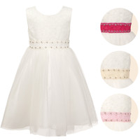 Flower Girls Dresses White Sleeveless Party Dress with Diama...