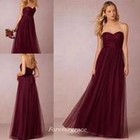 Billig unter 100 Burgund lange Brautjungfer Kleid Schatz rückenfrei Open Back Trauzeugin Kleid Hochzeitsgast Kleid nach Maß Plus Größe